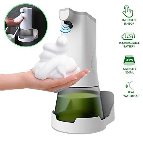 Elektrischer Seifenspender Automatisch Schaumseifenspender 350ml Berührungsloser Desinfektionsmittel Spender für Hände mit Sensor USB Wiederaufladbarer für Badezimmer Küche Toilette Hotel
