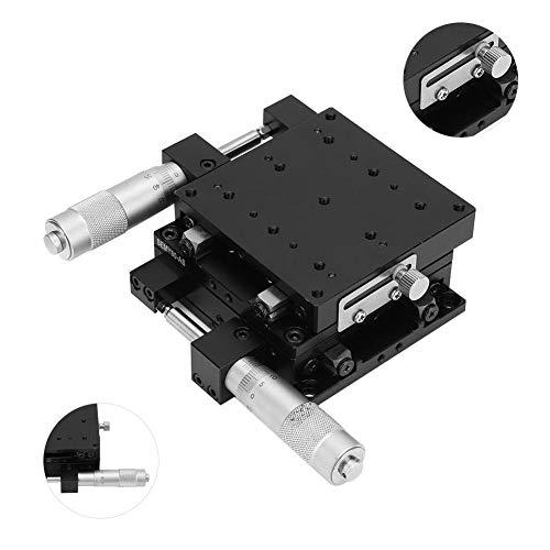 Handmatige XY-linia-tafel, 80 x 80 x 40 mm, handmatige micrometer-schuiftafel, precisie-trimplateau, kruisrol XY-lineaire positietafel, voor precisiespectie, apparaatpositionering enz.