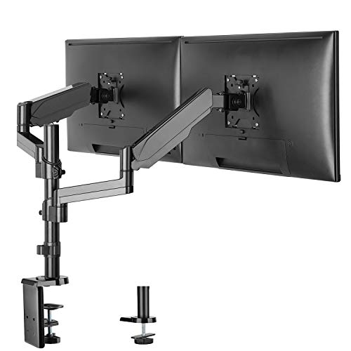IMtKotW Dual Arm Monitor Desk Mount Stand,Height Adjustable Full Motion Gas Spring Monitor Mount Riser with C Clamp/Grommet Base Fits Two 17-32 LCD LED Computer Screens up to 17.6lbs per