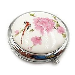 Taschenspiegel für Damen Tragbarer Kleiner Spiegel Vergrößerungsspiegel Handspiegel Schminkspiegel Keramik Traditionelles Chinesisches Design aus Porzellan Kompakt Klappbar