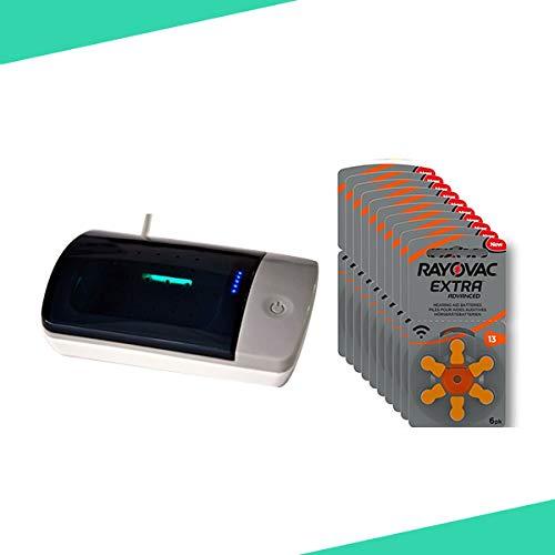 Box 60 Batterien 13 Rayovac + Elektronischer Desinfektions-Trockner & UV-Luftentfeuchter für Hörverstärker und Hörgerät