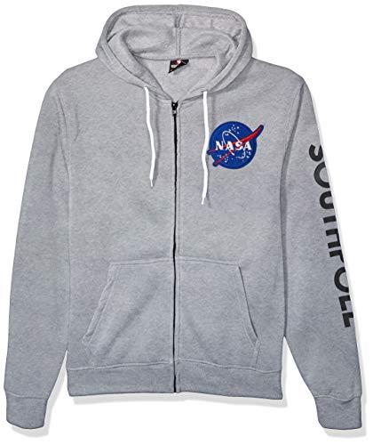 Southpole Men's NASA Collection Fleece Sweatshirt (Hoody, Crewneck), Heather Grey Patch, Large