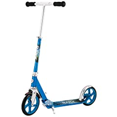 Extra-large, urethane wheels provide a super-smooth and comfortable ride Super-strong, height adjustable, aluminum T-tube and larger deck supports taller riders Anodized finish features bold colors and attention-grabbing graphics Easy-adjust handleba...