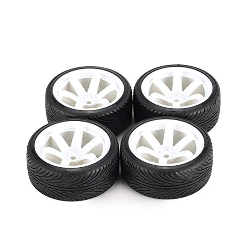 Austar Axe 4Pcs 64Mm Hartplastikfelge Reifen Reifenrad Für 1/10 Rc Drift Car Modell Hsp Hpi Komponente Ersatzteile Zubehör (Weiß)