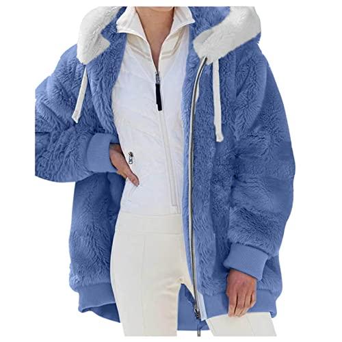 SHOBDW Barato Abrigo Chaqueta con Capucha Peludo Mujer Nuevo Slim Fit Sudaderas Esponjoso Caliente con Bolsillo de Felpa Coat Espesar Sudadera Tops Liquidación Venta Invierno Mujer(Azul,4XL)