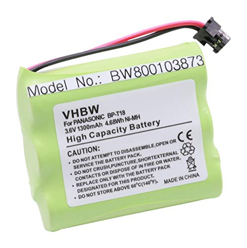 vhbw NiMH Akku 1300mAh (3.6V) passend für schnurlos Festnetz Handy Panasonic KX-TGM240, N4HKGMB00001, P-P501, P-P504, P-P508, P-P510, PQP504SVC