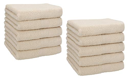 Betz Paquete de 10 toallas faciales PREMIUM 100% algodón 30x30 cm Color beige arena