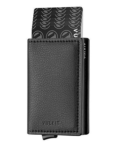 VULKIT Pocket Cartera Tarjetero Hombre Piel con Aluminio Caso RFID Bloqueo Tarjetero Minimalista con 3 Ranuras para Tarjetas y Billetes, Negro Grano