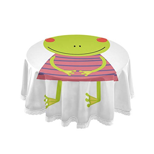 RELEESSS Round Tablecloth Funny Frog Table Cloth Circular 152cm Table Cover for Home, Kitchen, Dinning, Garden, Cafe, Buffet, Party, Wedding, Restaurant, Indoor Outdoor Tabletop Decor