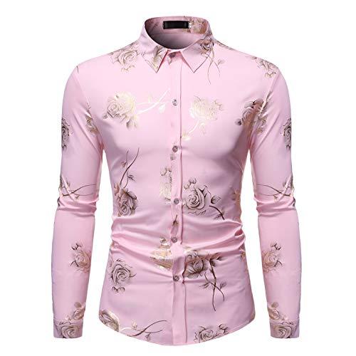 Camisas de Solapa para Hombre Camisas de Manga Larga con Estampado Floral Slim Regular Fit Camisas básicas clásicas Informales de Primavera Verano Small