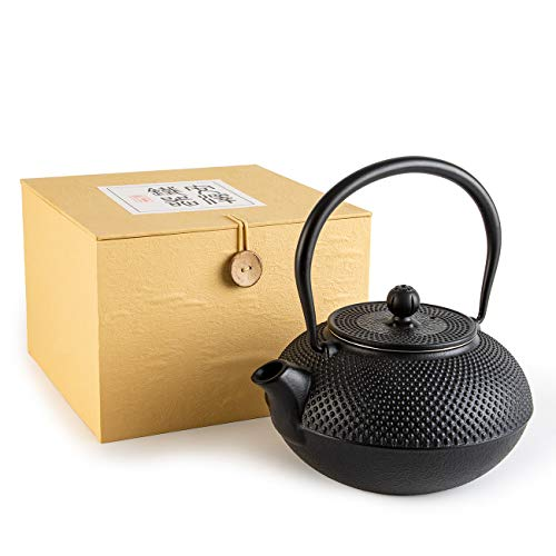 SUSTEAS Tetsubin Cast Iron Teapot with Stainless Steel Infuser Japanese tea pot kettle (43oz)