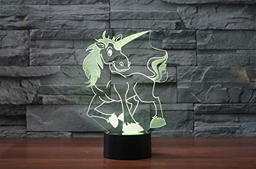 3D Cartoon Unicorn LED Horse Night Light color change Desk Lamp USB Table lamps Kids Gift Toys Decoration