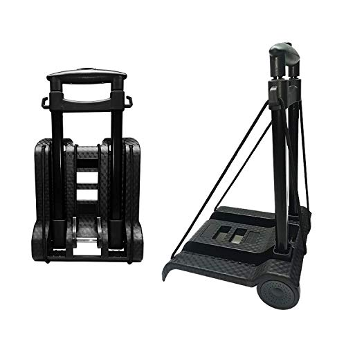 Portable Folding Hand Truck Lightweight Trolley Compact Utility Cart with 50kg/110lbs Heavy Duty 2 Wheels Solid Construction Adjustable Handle for Moving Travel Shopping Office Luggage Use(BY07)