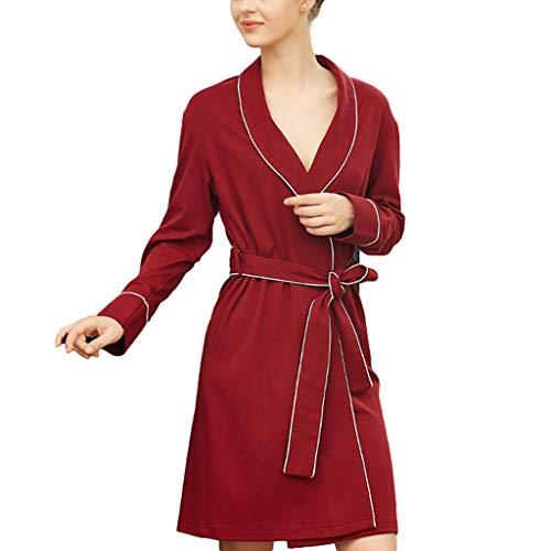 Albornoz para mujer de algodón cálido para invierno, bata de baño ligera (color: rojo, tamaño: grande)