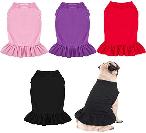 Weewooday 4 Pieces Dog Dresses Pet Shirts with Ruffles Cute Puppy Clothes Dog Sundress Pet Vest product image