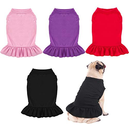 Weewooday 4 Pieces Dog Dresses Pet Shirts with Ruffles Cute Puppy Clothes Dog Sundress Pet Vest for Small Medium Dogs Cats, 4 Colors (Large)