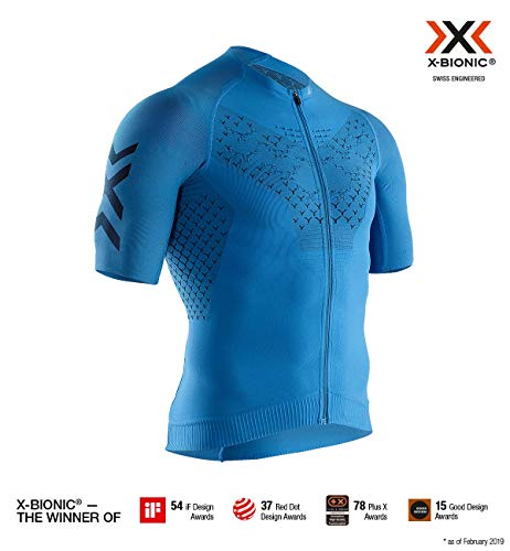 X-Bionic 4.0 Bike Zip Chemise Homme, Twyce Blue/Opal Black, FR : S (Taille Fabricant : S)