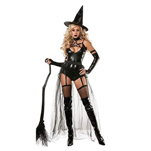 SHANGXIAN Halloween Bruja Disfraz para Mujeres Adultas Sexy Vestido De Danza Mágica Negro Charol Bodysuit,S