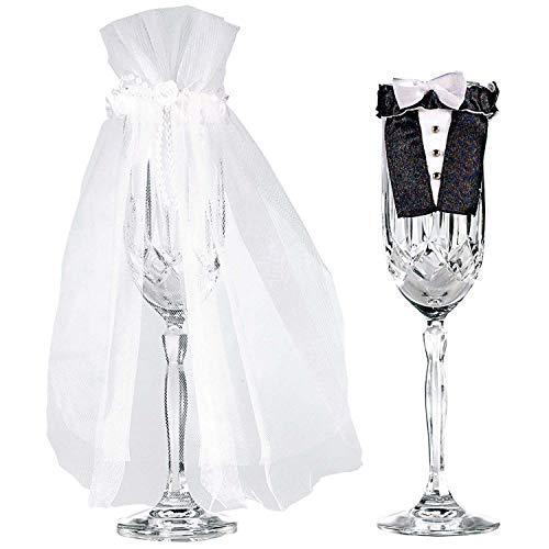 amscan 10 Gläserdekorationen Braut & Bräutigam, Weiß, Schwarz