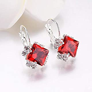 Square Crystal Drop Earrings For Women, Red