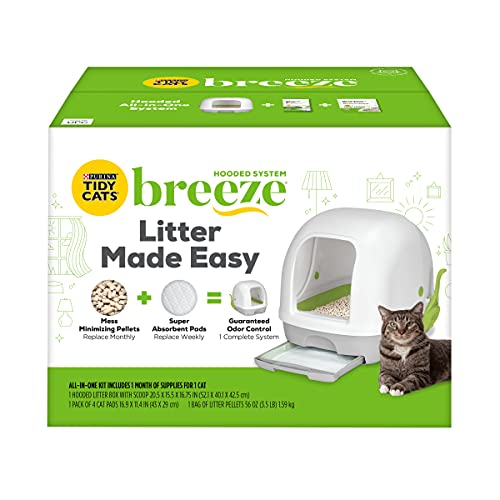 Purina Tidy Cats Hooded Litter Box System, Breeze Hooded System Starter Kit Litter Box, Litter...