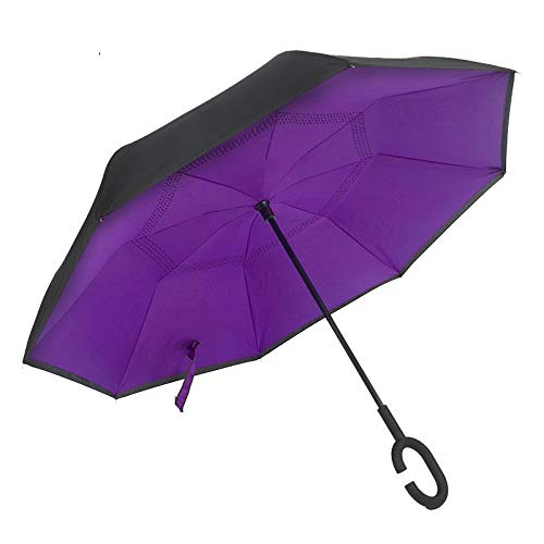 Sombrillas Terraza Paraguas De Flores Plegable Reverso para Mujeres Sombrillas Invertidas De Doble Capa Sombrilla A Prueba De Lluvia Lluvia Sombrilla Púrpura
