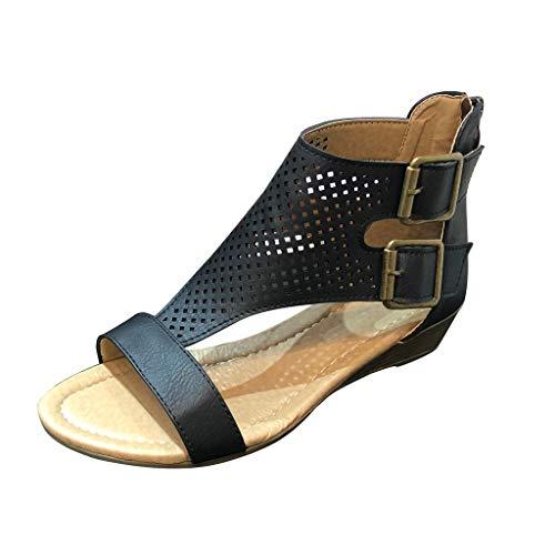 Frauen Sommersandalen Low Heel Roman Sandalen Schnalle Hohle lässige Sandalen Schuhe