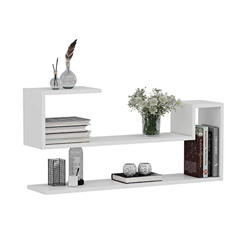 WAVE Mensola da muro - Mensola Parete - Mensola Libreria - Scaffale pensile per studio   soggiorno in Design moderno (Bianco)