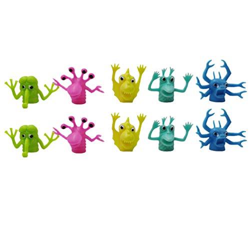 NUOBESTY 10Pcs Giocattoli Marionette da Dito Figure di Halloween Giocattolo Giochi di Ruolo Insegnamento Divertenti Giocattoli per Bambini Rifornimento Del Partito (Modello Casuale)