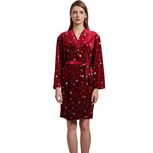 Pijamas para Mujer de Terciopelo Estrellado de Talla Grande Pijamas Casuales de Engrosamiento otoño e Invierno Ropa para el hogar,Wine Red,M