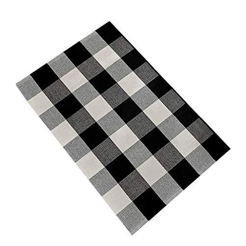 NNCTA Bathroom Mat Kitchen Cotton Plaid Rugs Black and White Checkered Rug Door Mat Rug Entrance Carpet Berber Carpet