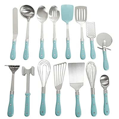 Frontier Collection 15-Piece All In One Tool And Gadget Set In Turquoise, Made of Stainless Steel, Nylon and Riveted ABS Handles, Dishwasher Safe from