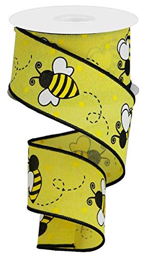 Bumblebee White Yellow Black Bee Ribbon: 2.5 Inches X 10 Yards