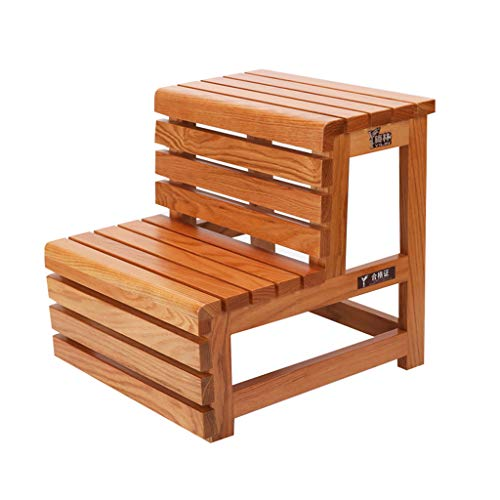 GY Ladder - Red Oak Step Stool Folding Stool Living Room Kitchen Replacement Shoes Folding Stool with 3 Steps flip Multi-Function Staircase Ladder Step Stool (Color : Brown)