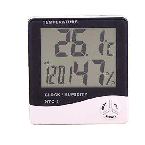 Ballylelly Htc-1 Thermomètre électronique intérieur réveil Accueil créatif thermomètre à grand écran et hygromètre cadeau