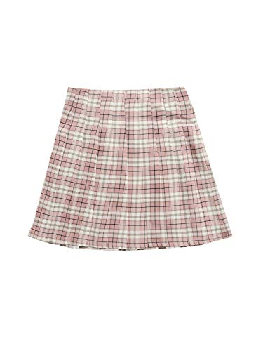 SOLY HUX Women's Plus Size Elastic Waist Flared Casual Mini Skater Skirt Pink Plaid Pleated 3XL