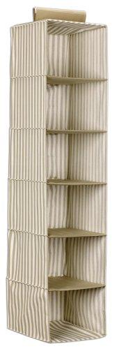 Household Essentials 1530 Six-Shelf Hanging Sweater Organizer, Green Stripe