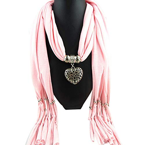 XINHUI Otoño Invierno Mujer Invierno Corazón Piedras Preciosas Collar Bufanda Señora Borla Bufandas Calientes Accesorios de Moda Pañuelo para el Cuello