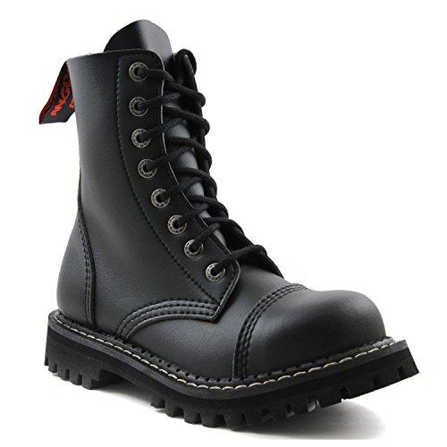 ANGRY ITCH - 8-Loch Gothic Punk Army Ranger Armee Schwarze vegane Stiefel mit Stahlkappe 36-48 - Made in EU!, EU-Größe:EU-44