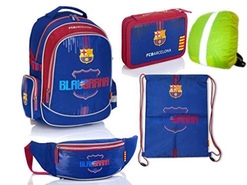FC Barcelona Set Rucksack Schulrucksack - Fussball + Federmäppchen + Turnbeutel + Bauchtasche + Regenschutz Schul-Rucksack-Set, 5 - Teile