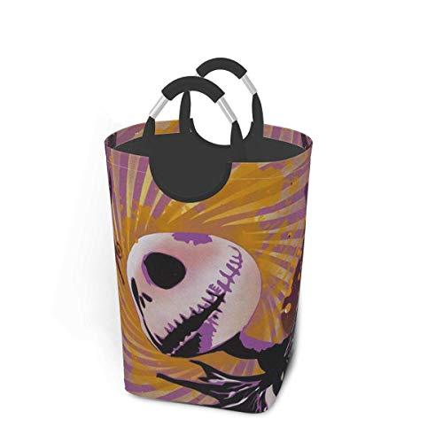 MJYT Día de la Cesta de lavadero Jack Skellington Happy Halloween de lavandería Cesto Plegable Ropa Bolsa Plegable Bin Lavado