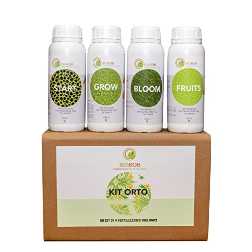 BIOBOB Kit Fertilizzante Biologico per Orto e Piante - 4 Flaconi di Concime concentrato per Tutte Le Fasi della Pianta – Adatto Anche per Indoor e orti Urbani