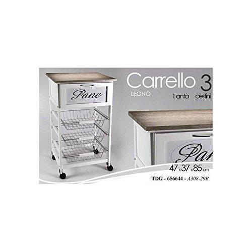 GICOS SRL Carrello Cucina Porta Pane Portavivande Legno 3 Cestini 1 Cassetto 85x47x37cm, Bianco, Unica