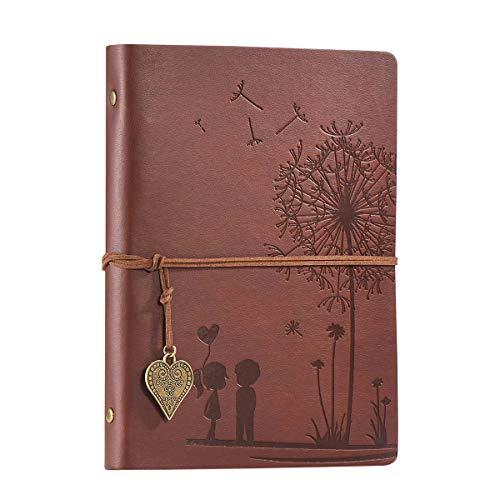 A5 Notizbuch Nachfüllbar Braun, Vintage PU Leder Notebooks Reise journal Gelbe Leere Papier Tagebuch für Zeichnen, Skizzieren 100 GSM, 100 Blatt Romantische Geschenke für Frauen, Männer
