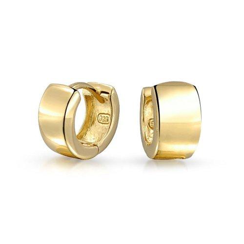 Einfache Breite Huggie Hoop Creolen Kpop Creolen Für Damen Für Herren 14K Vergoldet Sterling Silber Flachbild Scharnier