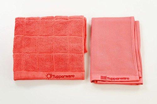 Tupperware FaserPro 31258 Lot de 2 chiffons microfibre en verre Turquoise//rouge