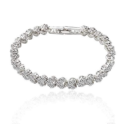 Pulseras de color plata, brazalete de color oro rosa, regalo de dama, cadena de metal circón, serpiente amor, diamantes de imitación, pulsera elegante (Color de metal: color plateado 2)