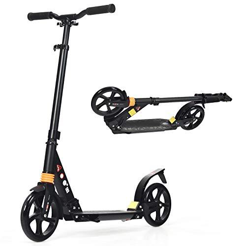 DREAMADE Scooter klappbar, Tretroller Kickscooter Höhenverstellbar, Tretroller Cityroller mit Aluminiumkonstruktion & Tragegurt, Cityscooter für Erwachsene und Kinder ab 8 Jahre (schwarz)