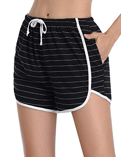 Abollria Pantaloncini Sportivi in Cotone Donna, Pigiama Pantaloni Pantaloncini Elastici Larghi Casual Estivi per Yoga, Jogging (Strisce Nere, M)