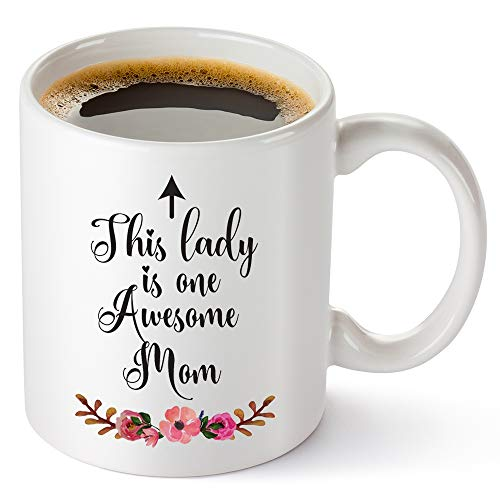 TRDSEDSW Best Mother's Day Gifts - This lady Is One Awesome Mom - Cute Irony Inspirational 11oz For...